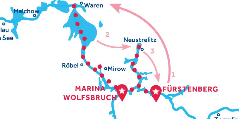 Fürstenberg HIN- UND RÜCKFAHRT über Waren & Neustrelitz