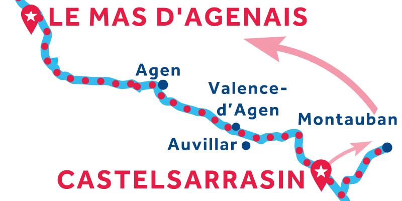 Castelsarrasin to Le Mas-d'Agenais via Montauban