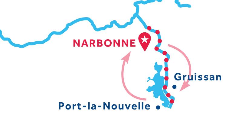 Narbonne, Hin- und Rückfahrt über Port la Nouvelle