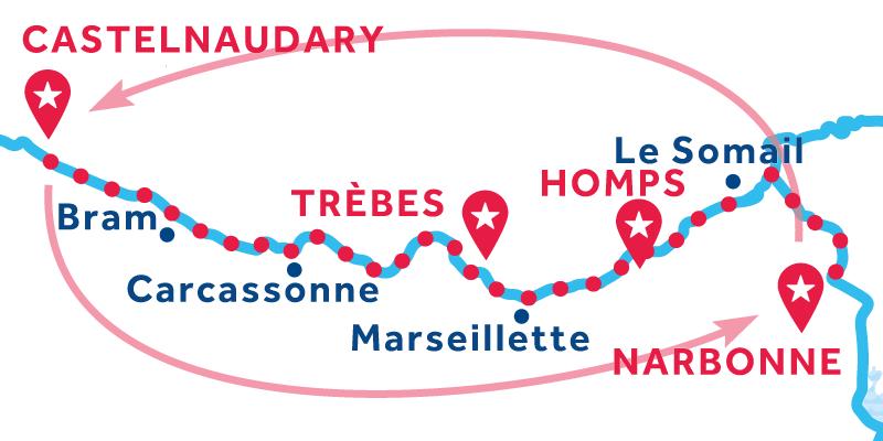 Narbonne Hin- und Rückfahrt über Castelnaudary