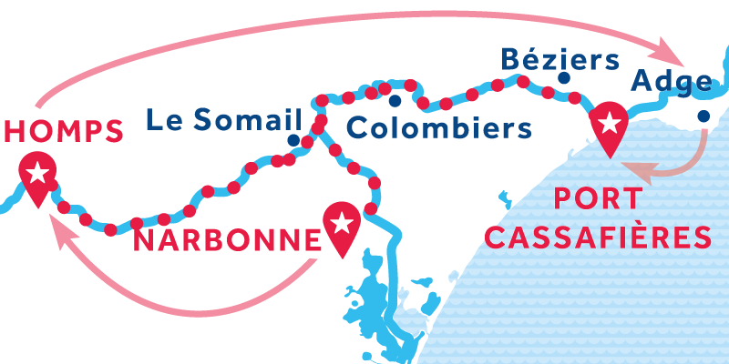 Narbonne nach Port Cassafières über Homps & Agde