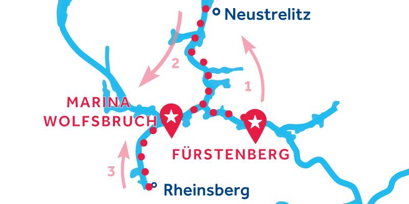 Fürstenberg HIN- UND RÜCKFAHRT über Neustrelitz & Rheinsberg
