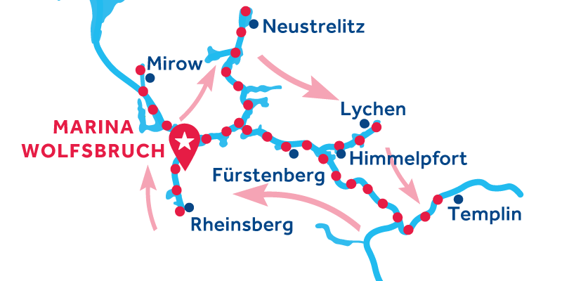 Marina Wolfsbruch RETURN via Rheinsburg, Mirow, Neustrelitz, Lychen, Templin