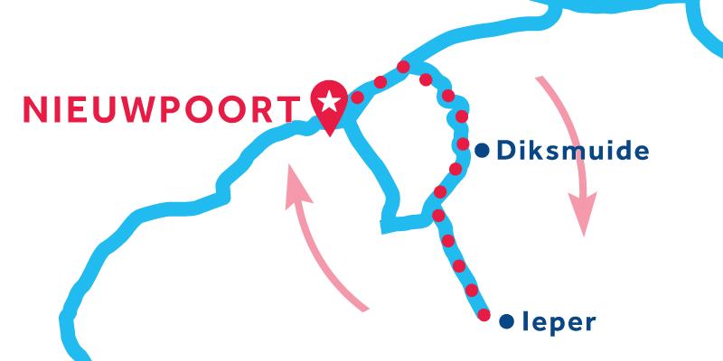 Route ab/bis Nieuwpoort über Ypres