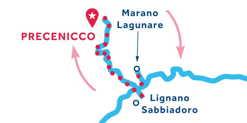 Precenicco RETURN via Marano Lagunare, Grado & Aquileia