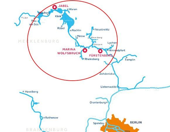 Karte: Die Müritz und seine Startbasen