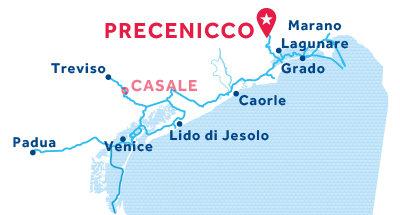 Karte zur Lage der Basis Precenicco