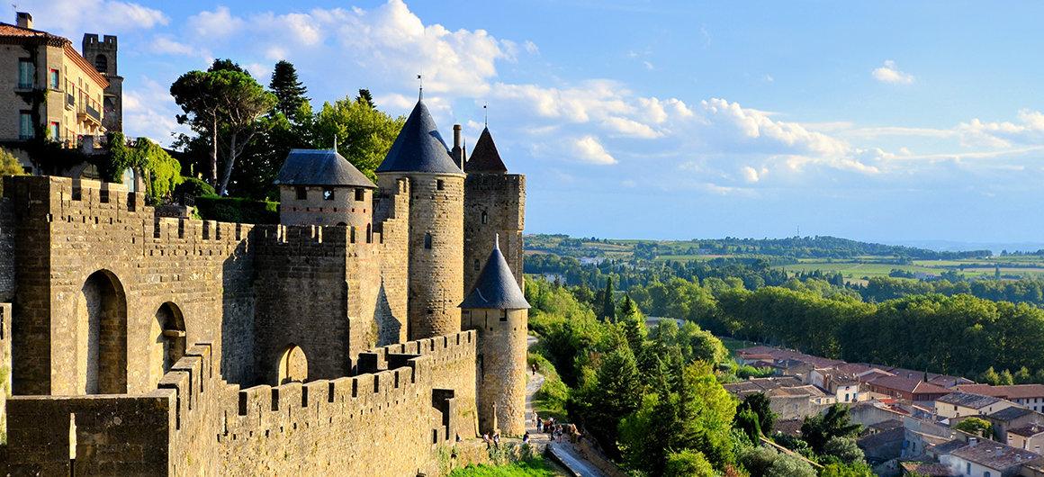 Blick über Carcassonne, Canal du Midi