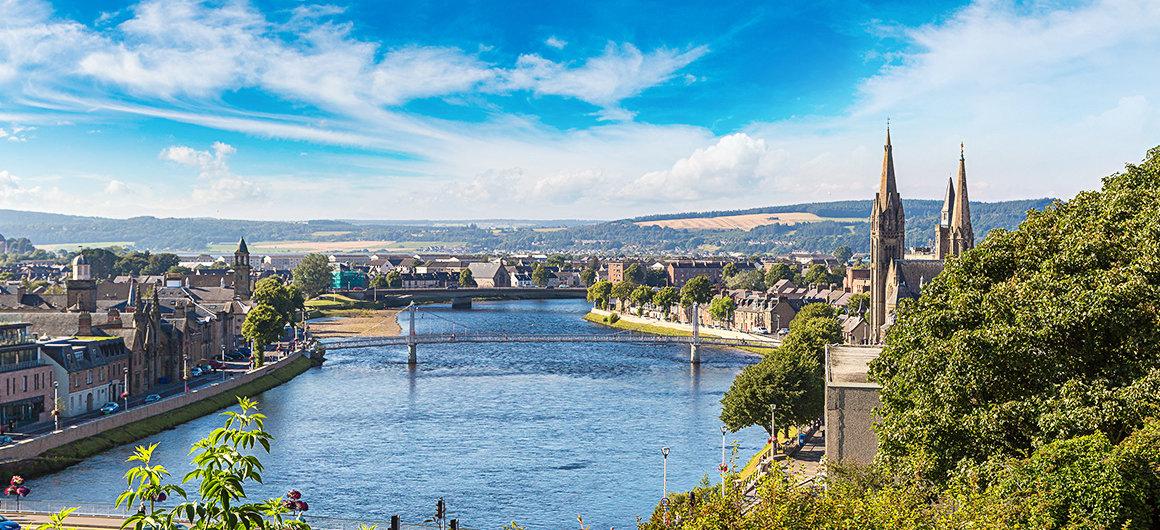 Stadtbild von Inverness, Schottland