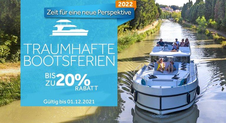 Bis zu 20% Rabatt auf Ihre Bootsferien 2022