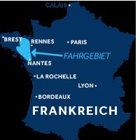 Karte zeigt, wo die Bretagne in Frankreich liegt
