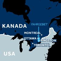 Die Karte zeigt, wo sich der Rideau Canal in Kanada befindet.